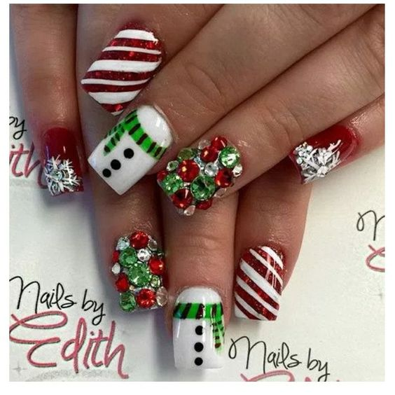 diy holiday nail art christmas