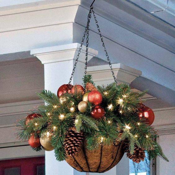 DIY Christmas Hanging Basket