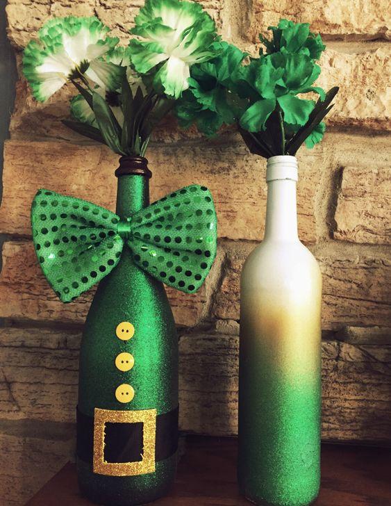 St. Patrick's Day Wine Bottles